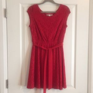 Red Lace Skater Dress with Belt